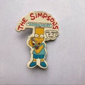 Vintage The Simpsons Bart Underachiever Brooch Pin